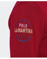 La Martina Red Zip-through Innocent Cardigan for men