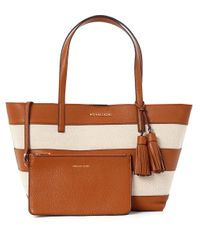 MICHAEL Michael Kors | Natural Stripe Canvas And Leather Tote Bag | Lyst