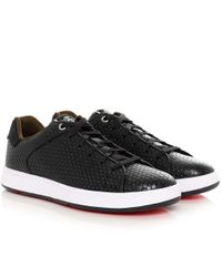 PS by Paul Smith | Black Textured Leather Serge Trainers for Men | Lyst
