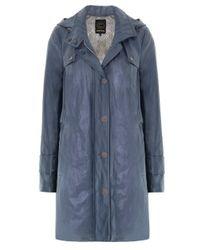 Creenstone | Blue Hooded Cotton Blend Coat | Lyst