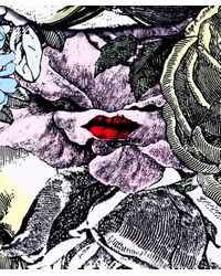 Lulu Guinness Multicolor Lip Lady Scarf