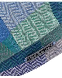 Stetson - Blue Linen Hatteras Check Cap for Men - Lyst