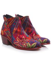 H by Hudson | Red Apisi Liberty Velvet Boots | Lyst