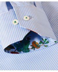Stenstroms Blue Fitted Houndstooth Print Shirt for men