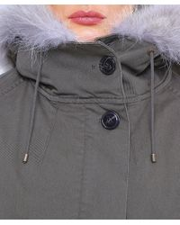 Yves Salomon - Green Cotton Canvas Fur-lined Parka - Lyst