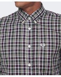 Fred Perry Red Herringbone Check Shirt for men