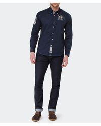 La Martina Blue Long Sleeved Logo Shirt for men