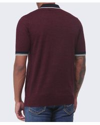 Fred Perry Red Yarn Knit Tipped Polo Shirt for men