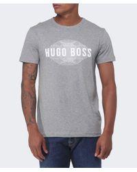 BOSS Green - Gray Modern Fit Logo T-shirt for Men - Lyst