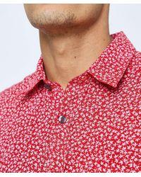 120% Lino Red Regular Fit Linen Floral Shirt for men