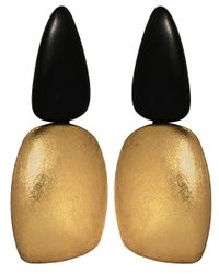 Monies - Brown Ebony Gold Foil Clip On Earrings - Lyst