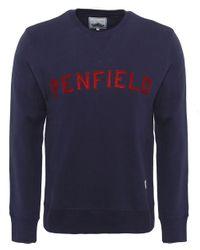 Penfield Blue Crew Neck Brookport Sweatshirt for men