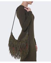 En Shalla Green Leather Tassle Bag