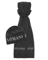 Armani Jeans - Gray Beanie Hat & Scarf for Men - Lyst