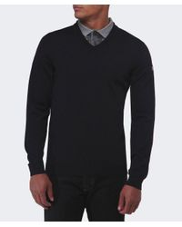 BOSS Green - Black Veeh Wool V-neck Jumper for Men - Lyst