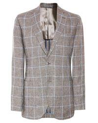 Hackett Brown Linen Windowpane Check Jacket for men