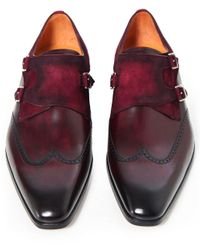 Magnanni Shoes - Multicolor Leather & Suede Wing-tip Monk Strap Shoes for Men - Lyst