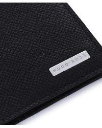 BOSS - Black Leather Passport Wallet for Men - Lyst