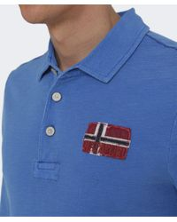 Napapijri Blue Esauf Long Sleeve Polo Shirt for men