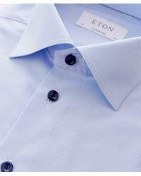 Eton of Sweden - Blue Contemporary Fit Micro Check Shirt for Men - Lyst