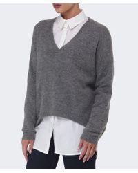 Gestuz Gray Gaby Wool V-neck Jumper