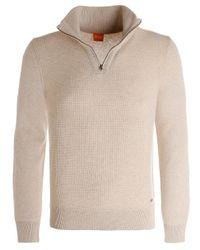 BOSS Orange - White Wool Almore Half-zip Jumper for Men - Lyst