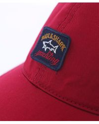 Paul And Shark Red Woven Cotton Cap for men