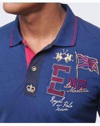La Martina Blue Slim Fit Guards Polo Shirt for men