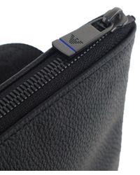 Armani Black Large Flat Messenger Bag for men