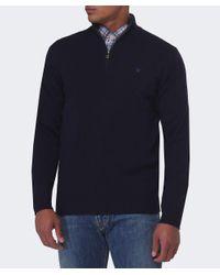 Hackett - Blue Half Zip Wool Jumper for Men - Lyst