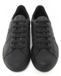 Armani Jeans - Black Leather Logo Trainers for Men - Lyst