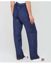 120% Lino Blue Straight Leg Linen Trousers