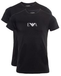 Emporio Armani Black Crew Neck T-shirt Two Pack for men