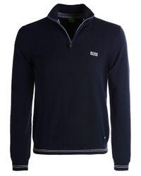 dae05e2bf84 BOSS Green Zime Half-zip Knitted Jumper in Blue for Men - Lyst