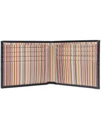 Paul Smith - Black Smooth Leather Signature Stripe Wallet for Men - Lyst