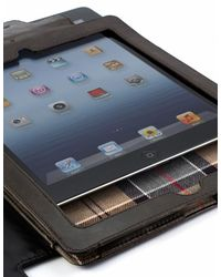 Barbour Brown Leather Ipad Case for men