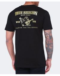 True Religion - Black Metallic Gold Buddha Puff T-shirt for Men - Lyst