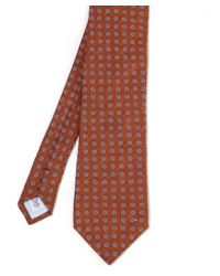 Stenstroms Orange Floral Linen Tie for men