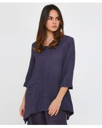 Grizas - Blue Linen Textured Drape Top - Lyst