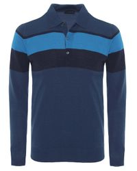 John Smedley | Blue Long Sleeve Pelton Stripe Polo Shirt for Men | Lyst