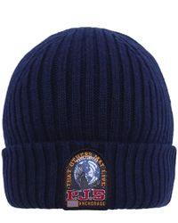 Parajumpers - Blue Wool Blend Ribbed Beanie Hat for Men - Lyst