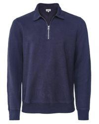 Hartford Blue Brushed Fleece Half-zip Sweatshirt for men