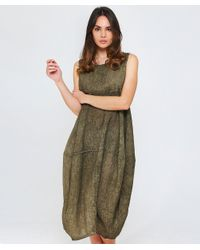 Grizas - Green Washed Linen Midi Dress - Lyst