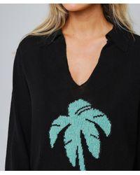 Poppy Palm Tree Intarsia Knit Jumper Rixo en coloris Black