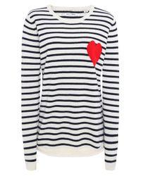 Chinti & Parker Blue Cashmere Breton Heart Jumper