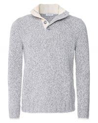 Gran Sasso Gray Virgin Wool Half-button Jumper for men