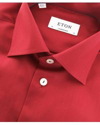 Eton of Sweden Red Contemporary Fit Signature Twill Shirt for men