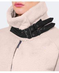 Armani Natural Faux Shearling Buckle Jacket