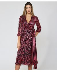 Alice + Olivia Pink Silk Blend Abigail Wrap Dress