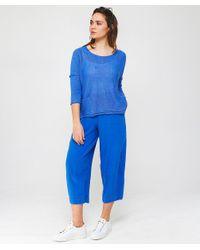Grizas - Blue Linen Cropped Trousers - Lyst